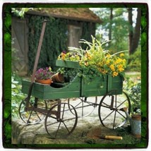 Patio Wood Wagon Showcase Plant Stand Cart Vintage Wrought Metal & Old W... - $68.30