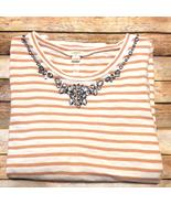 J Crew Top Jeweled Embellished 100%Cotton Size Large - $19.80