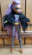 2012 Monster High Ghouls Rule Clawdeen Wolf Purple Hair Jointed Doll w/O... - $25.73