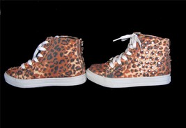 Michael Kors Leopard Rhinestone Studs Zipper Back High Top Shoes Girls NWOT DISC - $49.99