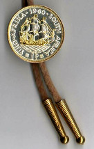 J & J Coin Jewelry Bolo Tie /Detailed Gold & Silver S African Penny Sail... - $89.95