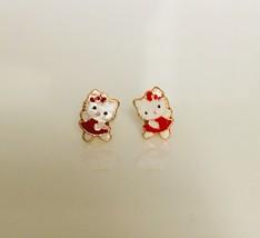 14K Yellow Gold Hello Kitty Style Dancing Screw Back Stud Earrings Enamel Red - $46.73