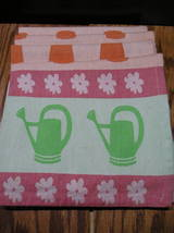 """4 Cloth Napkins With Flowers,Watering Cans, And Flower Pots 19"""" By 19"""" - $10.99"""