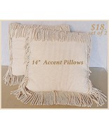 Accent Pillows off white Set of 2  14 Inch Plus Fringe - $17.82