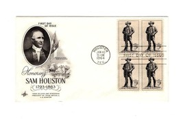 FDC ENVELOPE-HONORING SAM HOUSTON- BL4-1964  ART CRAFT CACHET BK12 - $1.94