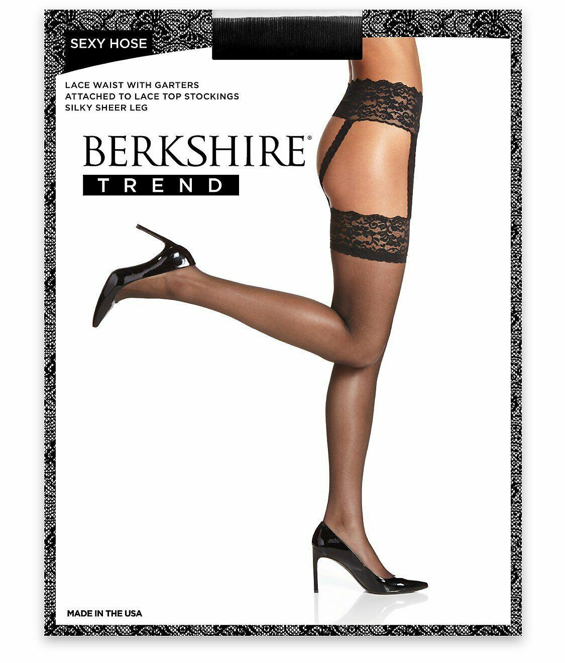 Berkshire BLACK Sexy Hose Lace Waist Garter Stockings, 2-Pack,US Queen1