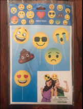 EMOJI FACES PHOTO BOOTH PROPS BIRTHDAY PARTY SUPPLIES SET OF 6 EMOJIS - $7.92