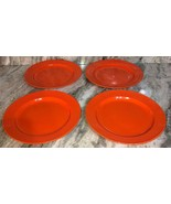 "Royal Norfolk 10 1/2"" Lunch/Dinner Plates Set Of 4 Orange(New)SHIP N 24 ... - $39.08"