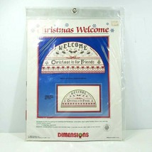 Dimensions Counted Cross Stitch Kit Christmas Welcome #8333 Vintage 1986 Sealed - $24.99