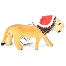 Hand Carved & Painted Jacaranda Wood Santa Hat Lion Safari Christmas Ornament image 3