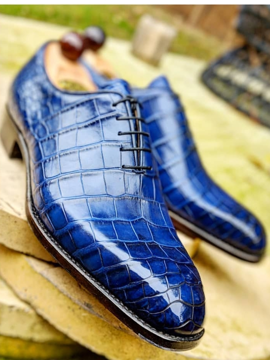 Handmade Men's Blue Crocodile Texture Dress/Formal Leather Oxford Shoes