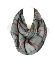 Plaid Knitted Infinity Scarf - $14.99