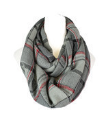 Plaid Knitted Infinity Scarf - £11.39 GBP