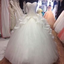 Strapless Ball Gown White Tulle Crystals Wedding Dress 2019 - $259.99