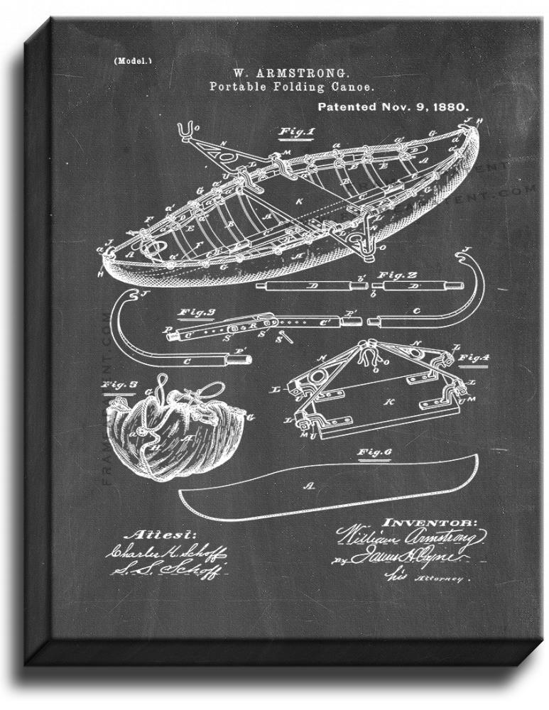 Primary image for Portable Folding Canoe Patent Print Chalkboard on Canvas