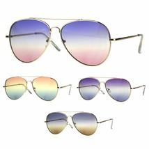 Oceanic Tie Dye Gradient Lens Flat Lens Metal Pilots Sunglasses - $12.95