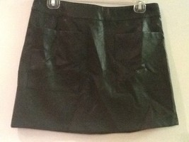Forever 21 Faux Leather Olive Green Mini Skirt Front Pockets Side Zip Womens M - $18.95