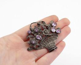 925 Silver - Vintage Amethyst & Marcasite Flower Basket Brooch Pin - BP5381 - $61.39
