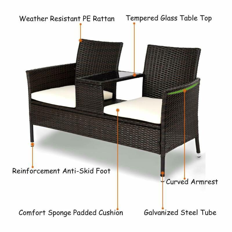 Modern Conversation Set Removable Cushions Home Garden Lawn Patio Stylish Decor