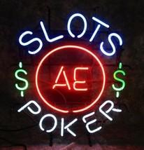 Slots AE Poker Neon Vintage Neon Light Advertising Sign Mancave Garage Art - $399.00