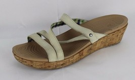 Crocs Keilabsatz Sandalen Riemchen Leder Kork Rutschen Beige Größe UK 11 - $14.61