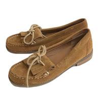 Lucky Brand Suede Loafer Shoes women 6 brown tan Kiltie dress flats - $29.69