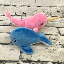 Whale Plush Lot Of 2 Pink Spotted Narwhal Classic Blue Stuffed Animal Soft Toys - $9.89