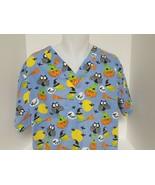 Halloween Scrub Top Size L Blue Pumpkin Owls Vet Tech Nurse Pediatric - $15.45
