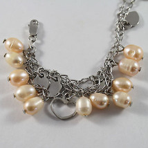 .925 STERLING SILVER BRACELET WITH ROSE PEARLS AND HEARTS PENDANT image 2
