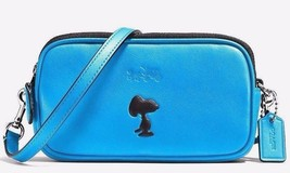 COACH Peanuts SNOOPY Limited Edition Blue Cross Body Pouch Clutch Purse ... - $195.00