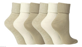 6 Pair Ladies Jennifer Anderton Soft Turn Over Socks 4-8 uk 37-42 Eur Na... - $12.29