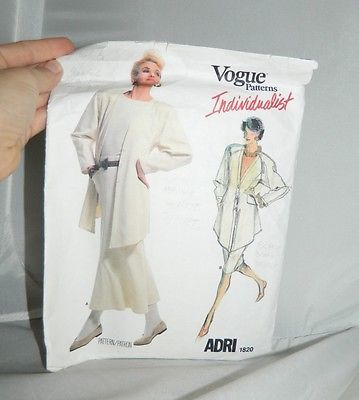VTG Vogue Patterns Individualist ADRI 1820 Womens Size 8 Cut 1986 Butterick