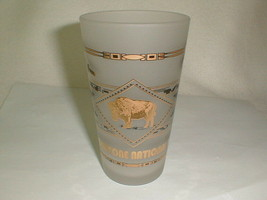 Yekkowstone national part frosted glass applied gold buffalo animals adv... - $33.00