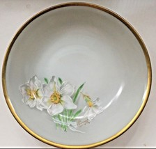 China Dessert Fruit Bowl w Handpainted Daffodils Signed Bavaria Gold Rim... - $4.79