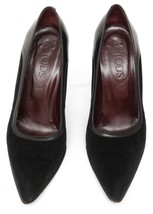 TOD'S Black Leather Pump Suede  Pointed Toe Slip On Heel Sz 39.5 - $104.50