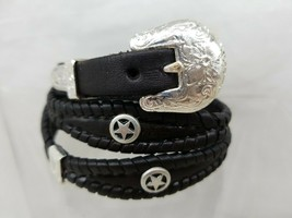 STAR HATBAND Black Scalloped Braided LEATHER with Silver CONCHOS +Vintag... - $33.24