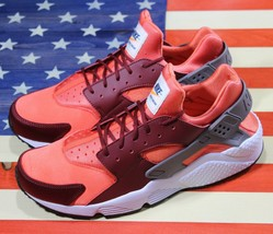 Nike Air Huarache Run Running Shoes Team Red Coral White [318429-054] Me... - $111.11