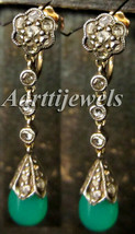 Victorian 1.30ct Rose Cut Diamond Emerald Wedding Earrings Shop Early & ... - $557.25