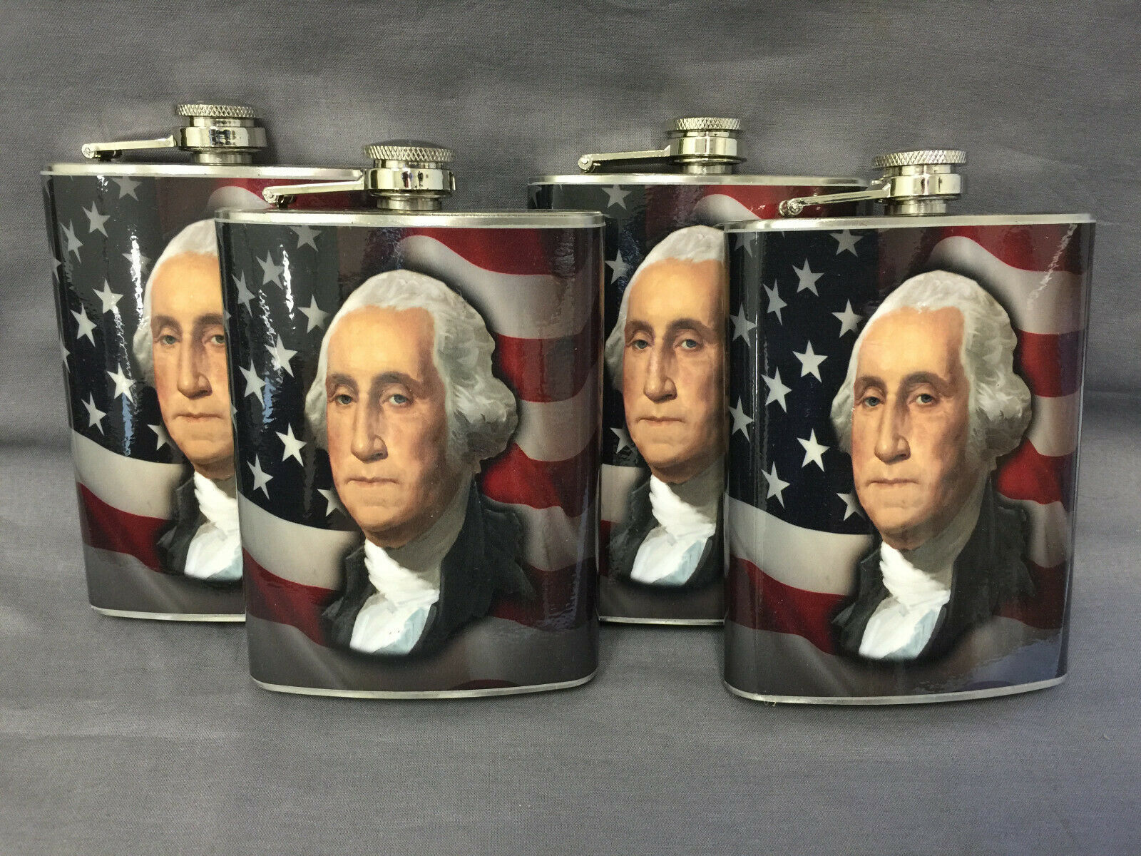 Set of 4 George Washington Flasks 8oz Stainless Steel Hip Drinking Whiskey