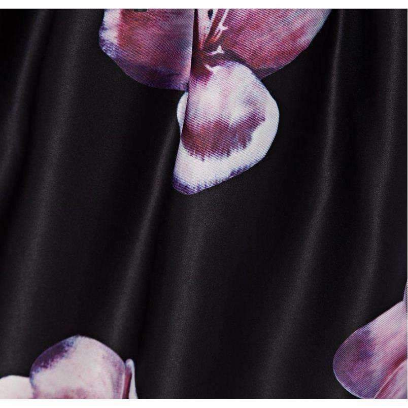 High Waist Pleated Floral Print Women Skater Skirt