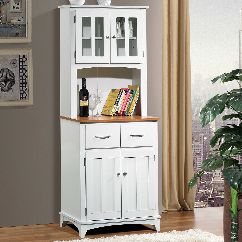 White Wood Tall Microwave Cart Kitchen Storage Cabinet ...