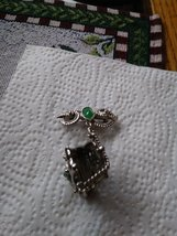 Unique Silver Jade Pin With Opening Purse To Adding Your Favorite Fragrance Jewe image 3
