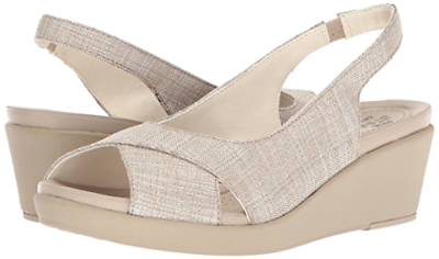 Crocs Women's Leigh-Ann Shimmer Slingback Wedge, Oyster/Cobblestone - Choose SZ