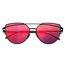 Nuevo Grande Cat Eye Gafas de Sol Plano Lente Espejada Montura Metálica - $8.45