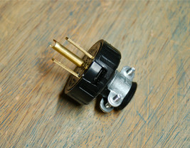 3 Prong Electrical Plug w/ Cord Clamp - Grounded Industrial Vintage Styl... - $5.34