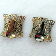 Onyx and Filigree Gold Tone Clip On Earrings with Faux Diamond look Center Inlay image 2