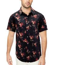Men's Cotton Short Sleeve Casual Button Down Floral Pattern Dress Shirt image 2