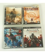 LOT OF 4 PS3 Action Games Bundle Uncharted 2 Call of Duty MW2 Red Factio... - $16.69