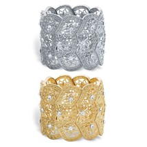 "2-Piece Set Round Crystal Gold Tone and Silvertone Stretch Bracelets 7"" - $34.99"