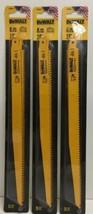"(New) DEWALT DW4804 12"" 6-TPI  Bi-Metal Reciprocating Saw Blade  Pack of 3 - $56.42"